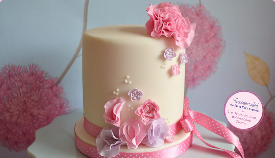 Beautiful Wedding Cake in Pink and Lilac by Homebaked Heaven of Harrogate, North Yorkshire
