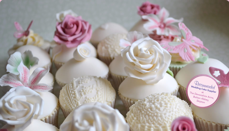 Extra Special Wedding Cupcakes with Floral Decoration by Homebaked Heaven of Harrogate, North Yorkshire